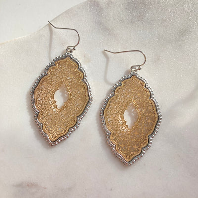 Lace Filigree Gold and Silver Earrings