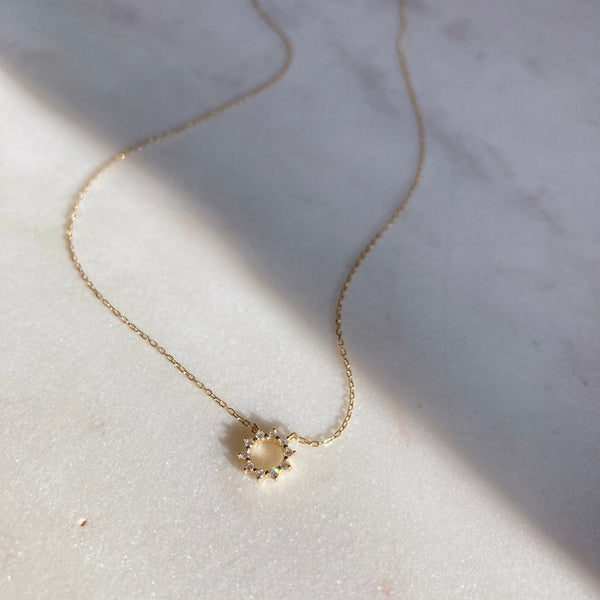 Diamond Open Circle Flower Necklace