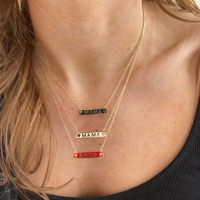 Enamel Bar Necklaces in Mama and XOXO