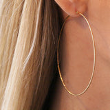 LARGE GLIMMER HOOPS - katie diamond jewelry
