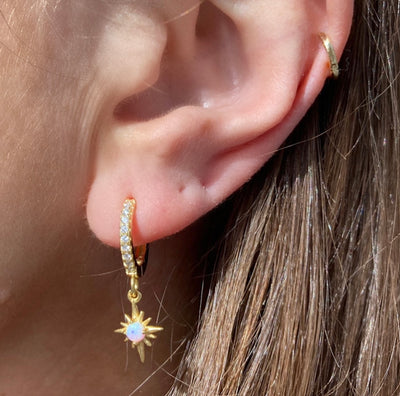 Gold Huggie Hoops with Diamond CZ Stones and Opal Starburst Charm