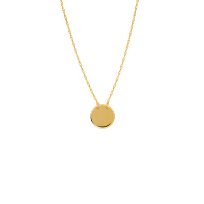 Plain Gold Disc Necklace