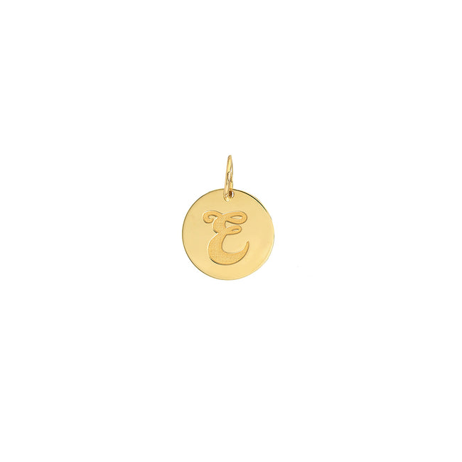 Round Gold Disc Charm Engraved with Script E