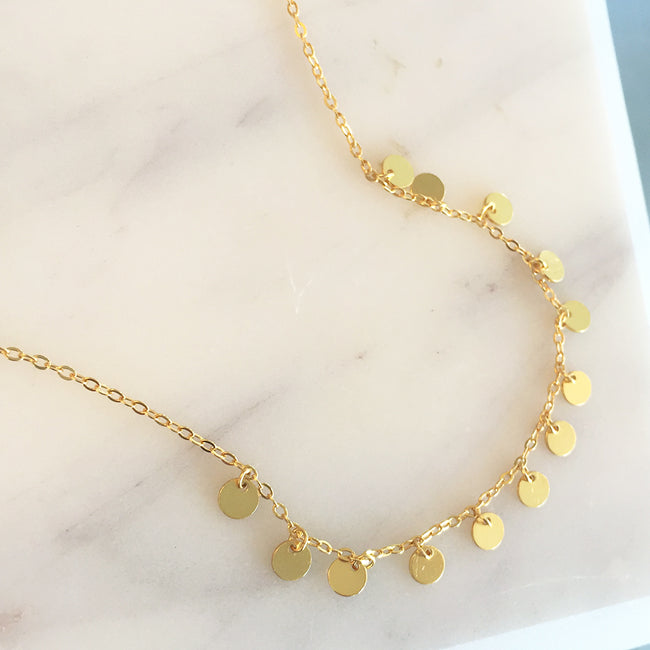 Multi Mini Gold Disc Station Necklace