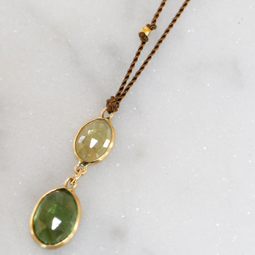 DOUBLE GREEN TOURMALINE NECKLACE