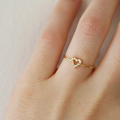 OPEN DIAMOND HEART RING - katie diamond jewelry