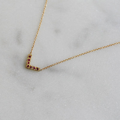 OPEN TRIANGLE NECKLACE RUBY