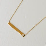 GOLD BAR NECKLACE WITH DIAMOND