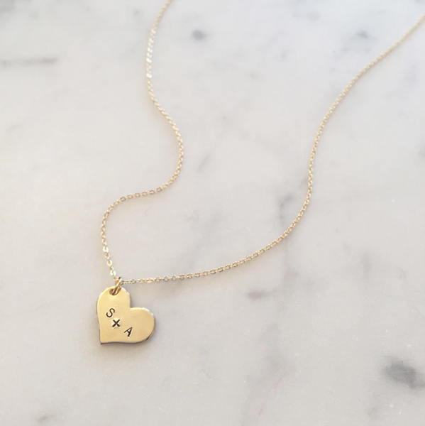 Gold Heart Charm with Initials