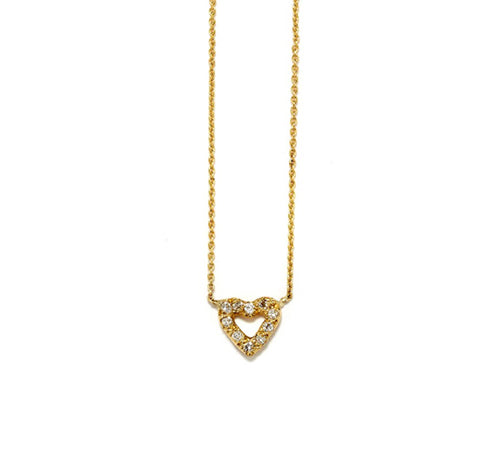 OPEN HEART NECKLACE WITH DIAMONDS