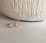 GOLD & DIAMOND INITIAL STUD - katie diamond jewelry