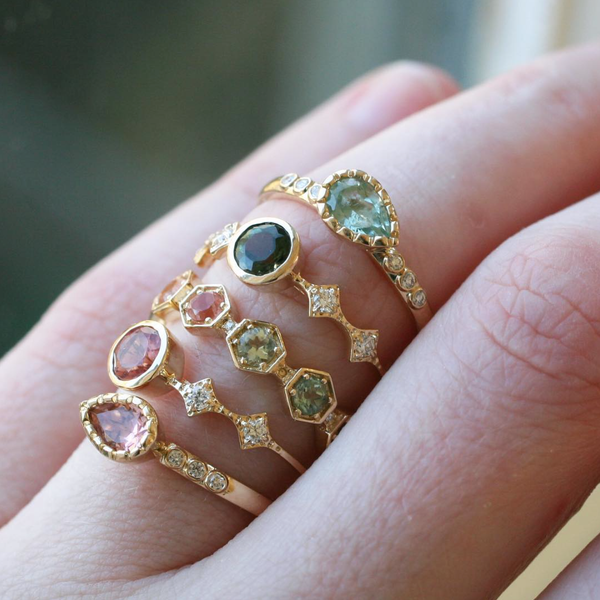 Tourmaline Ring Stack by Katie Diamond Ridgewood NJ