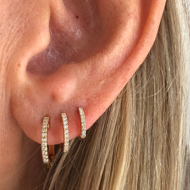 Three sizes of Diamond Huggie Hoop Earrings