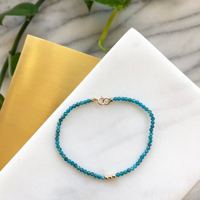 Apatite Gemstone Beaded Bracelet