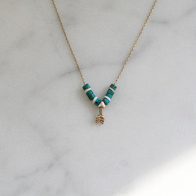 ARROW & TURQUOISE BEAD NECKLACE - katie diamond jewelry