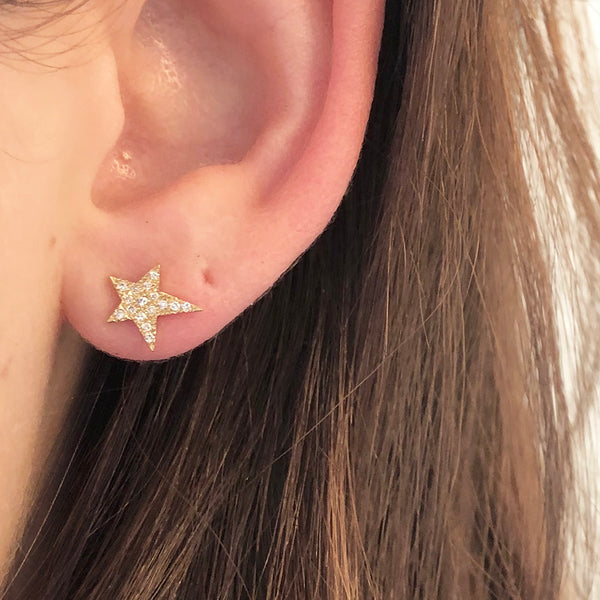 ASYMMETRICAL STAR DIAMOND STUD EARRINGS