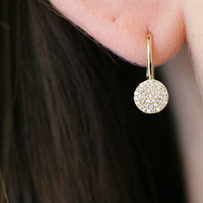 Gold Diamond Disc Leverback Earrings