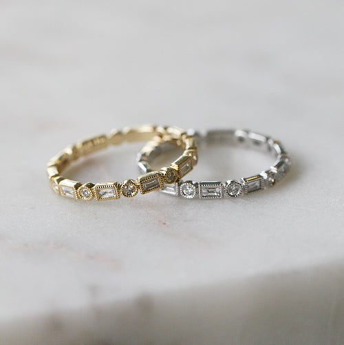 Alternating Baguette and Round Diamond Ring