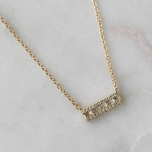 BAGUETTE DIAMOND NECKLACE - katie diamond jewelry
