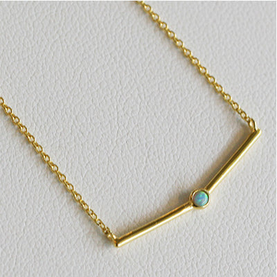 THIN OPAL BAR NECKLACE