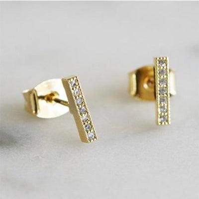 CZ BAR STUDS - katie diamond jewelry