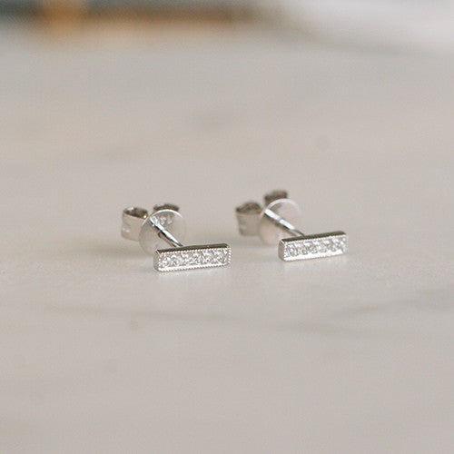 DIAMOND 14K BAR STUDS
