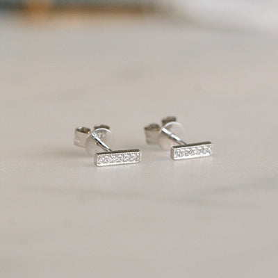GOLD + DIAMOND BAR STUDS