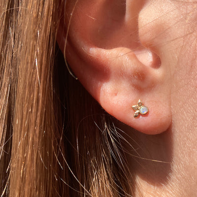 Tiny Opal and Diamond Stud Earring