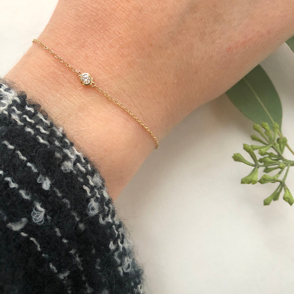Tiny Bezel Set Diamond Bracelet