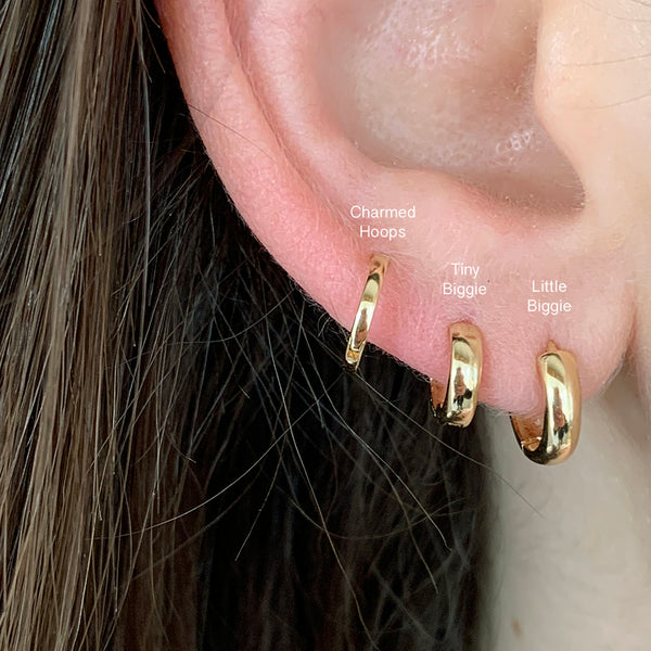 Tiny Thick Gold Huggie Hoop Earrings