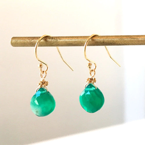 Green Onyx Birthstone Earrings for May
