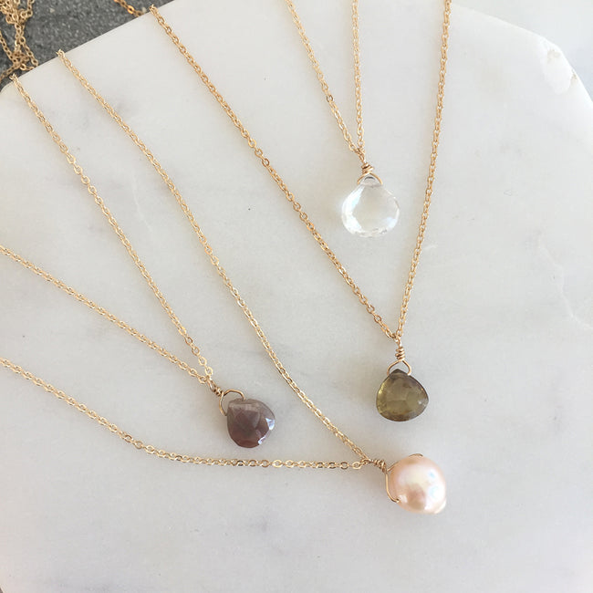 Gemstone Birthstone Necklaces for April November June and October