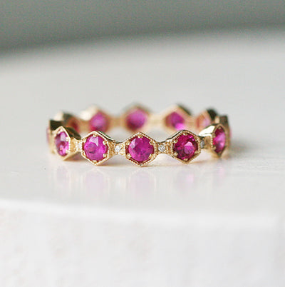 Hexagon Ruby and Diamond Eternity Band