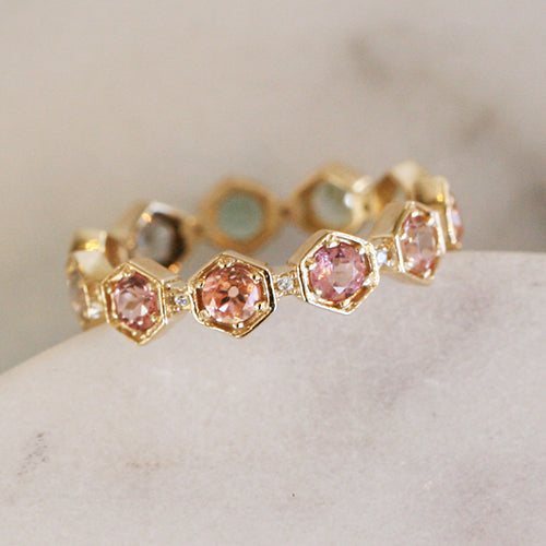 Ombre Tourmaline Hexagon Carina Eternity Band by Katie Diamond