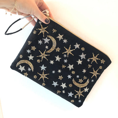 PrintFresh Celestial Skies Black Embroidered Beaded Pouch at Katie Diamond in Ridgewood NJ