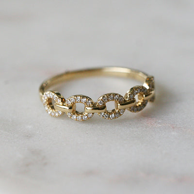 PETITE CHAIN LINK RING - katie diamond jewelry