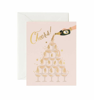 CHAMPAGNE TOWER CHEERS CARD - katie diamond jewelry