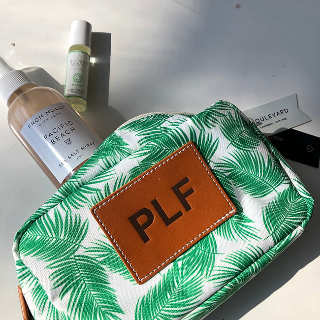 BLVD Billie Medium Cosmetic Pouch in Green Palm at Katie Diamond in Ridgewood NJ