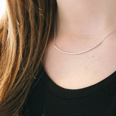CURVED BAR DIAMOND NECKLACE - katie diamond jewelry