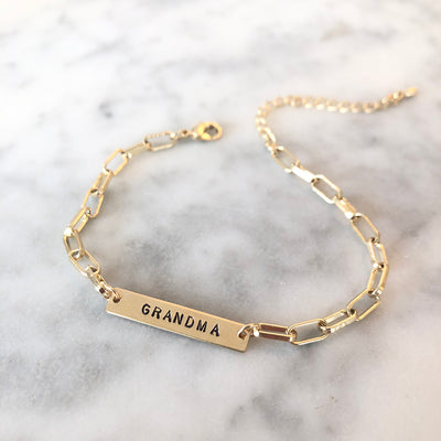 Paperclip Chain Customizable Name or Word Bar Bracelet
