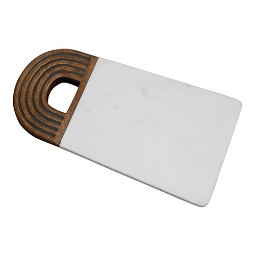 WHITE MARBLE & WOOD CUTTING BOARD