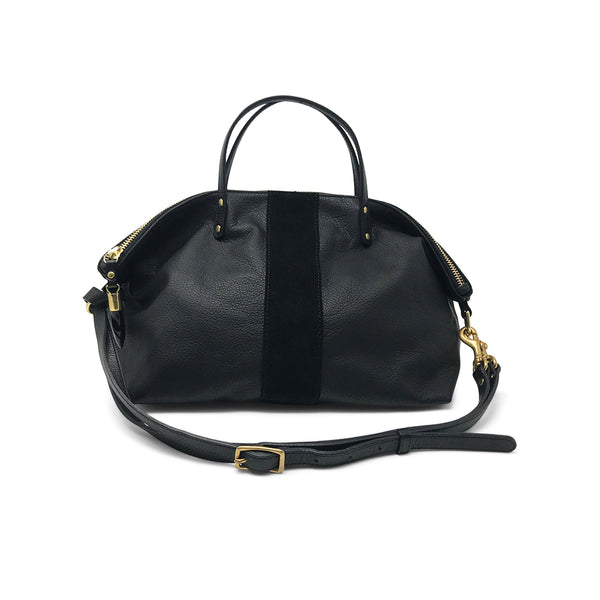 BLACK/BLACK SUEDE STRIPE DEVON HOLDALL - katie diamond jewelry