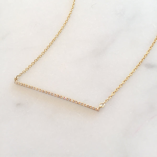 GOLD DIAMOND BAR NECKLACE