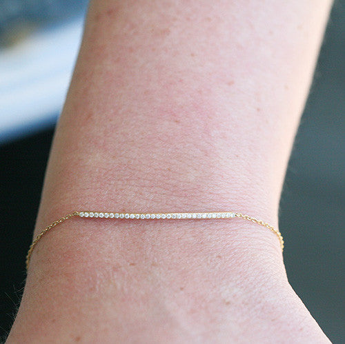 14K CURVED BAR DIAMOND BRACELET - katie diamond jewelry