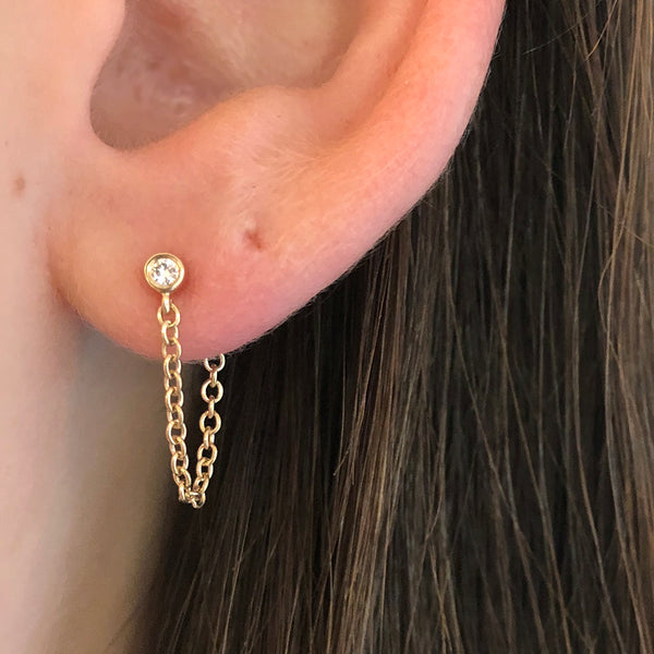 BEZEL DIAMOND CHAIN EARRINGS