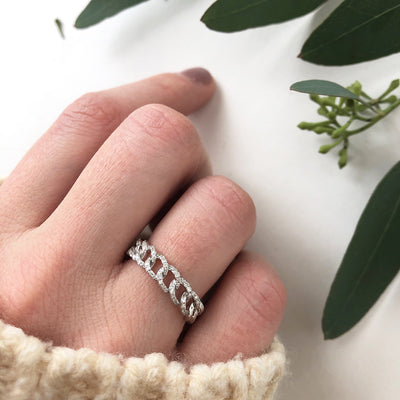 White Gold Curb Chain Eternity Ring with Pave Diamond Links