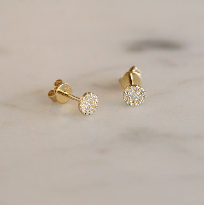 Round Gold Diamond Disc Stud Earrings