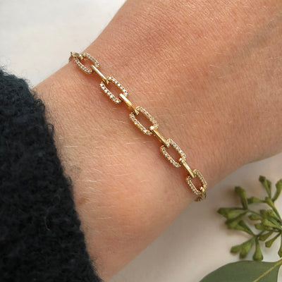 Gold and Diamond Rectangle Link Chain Bracelet