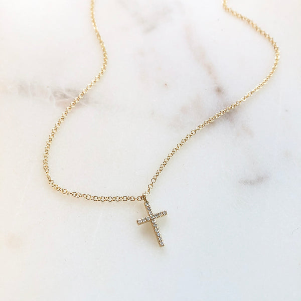 PETITE DIAMOND CROSS NECKLACE