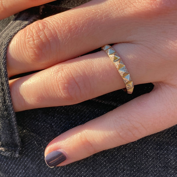 Gold Studded Eternity Band with Pave Diamonds
